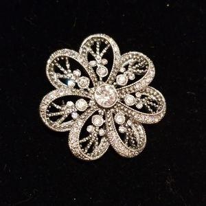 Pin, brooch silver and rhinestones